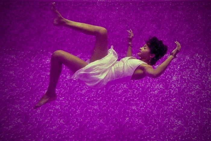 woman falling dreamlike